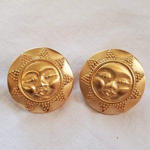 Anne Klein Vintage Gold Tone Sun Post Earrings